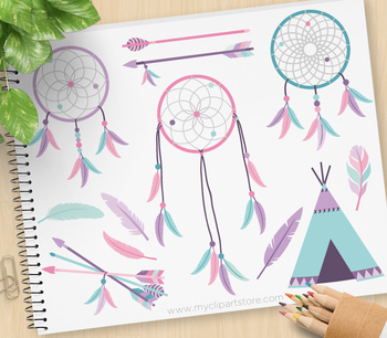 Dream Catchers (2) Clipart, Tribal / Aztec / Navajo / American Indian (pink).