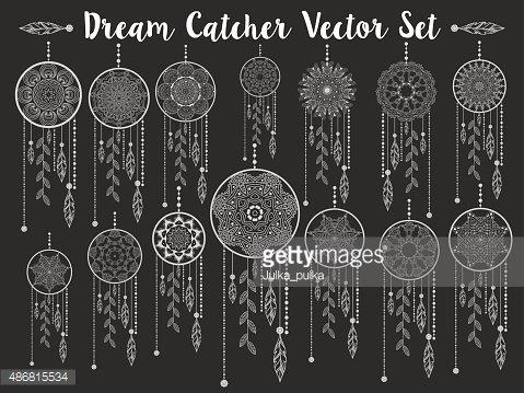 Dream catchers dreamcatcher aztec feather vector patterned.