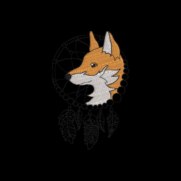 Aztec Fox Dream Catcher Embroidery Design.