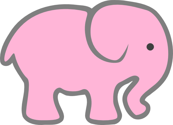 Cute Pink Elephant Clipart.