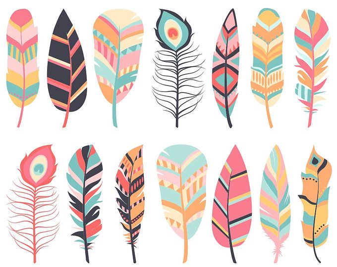 Feather Clipart, Digital Feathers, Feather Clip Art, Aztec.
