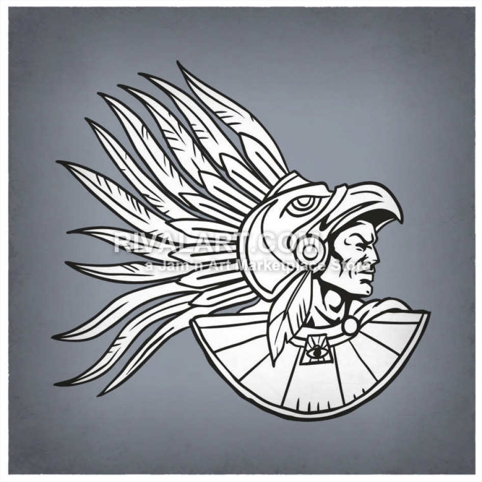 An Aztec Warrior Wearing Feathers.