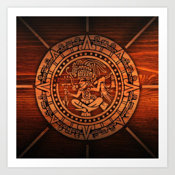 Aztec Logo On Wood Art Print by threeboys.