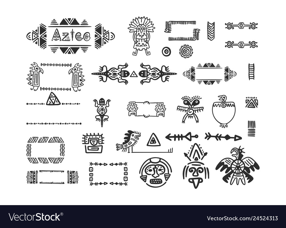 Tribal aztec symbols for logo.