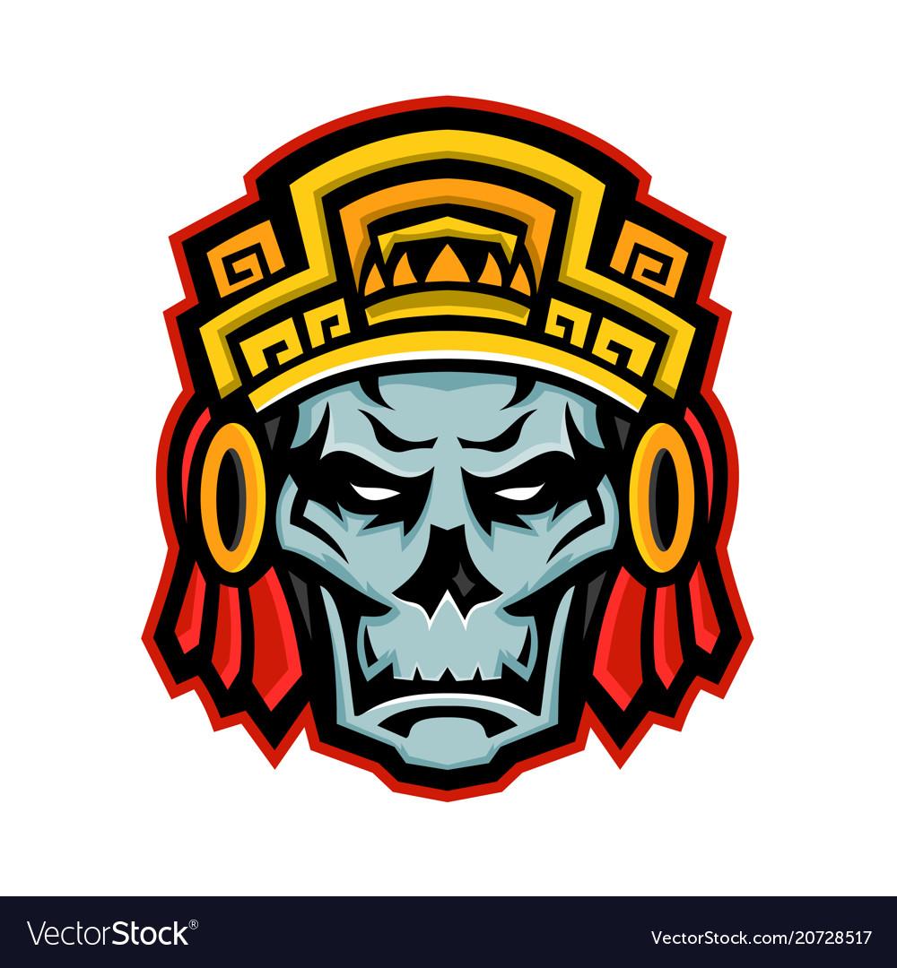 Aztec warrior skull mascot.
