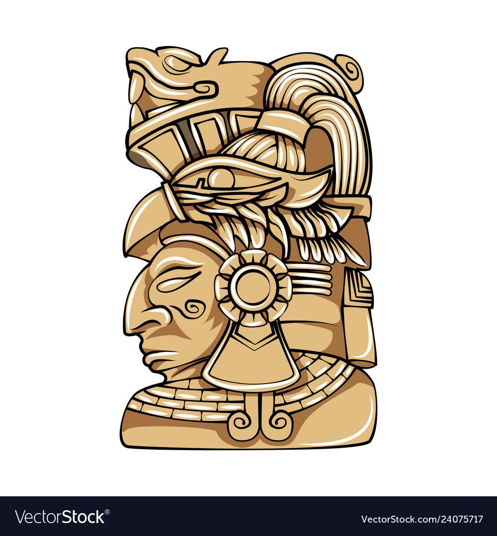 Aztec statue head.