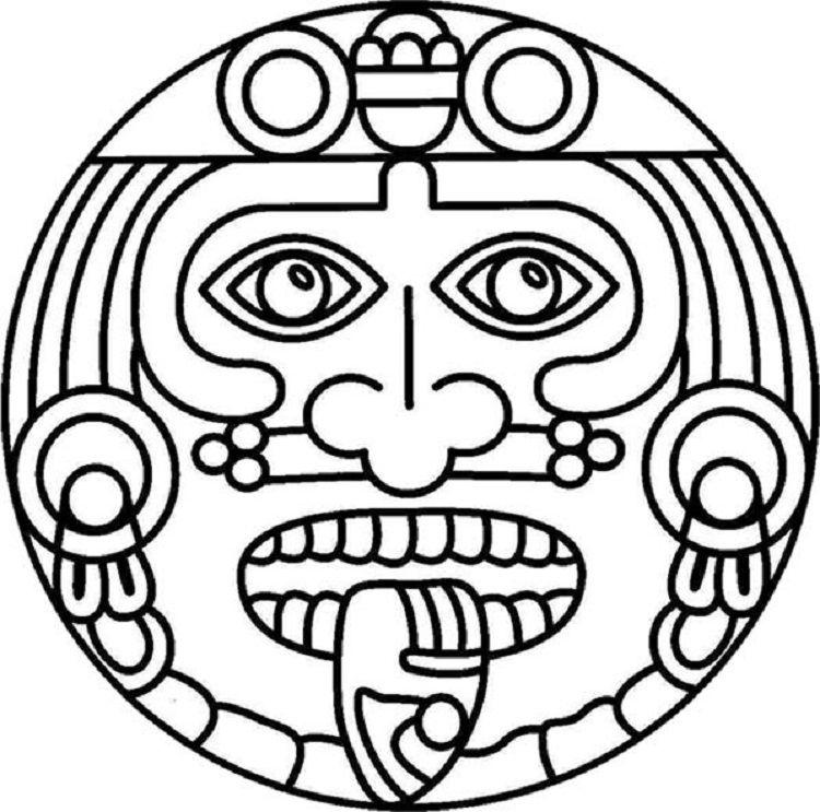 Aztec Sun Coloring Pages.