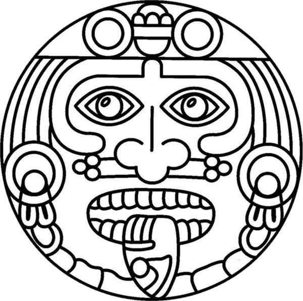 Aztec Symbol of God Coloring Pages.
