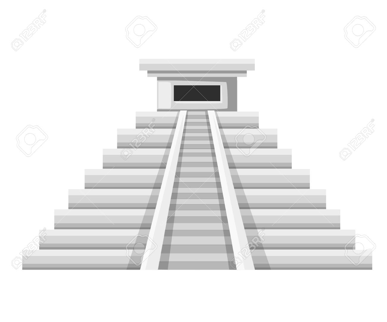 Aztec pyramid icon. Flat vector illustration. Old stone temple.Mexican...