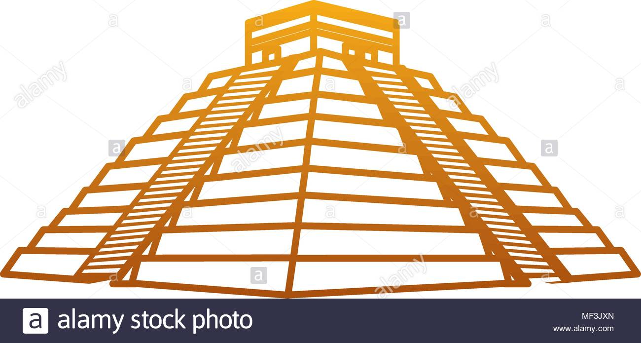 degraded line chitchen itza pyramid aztec temple vector illustration.