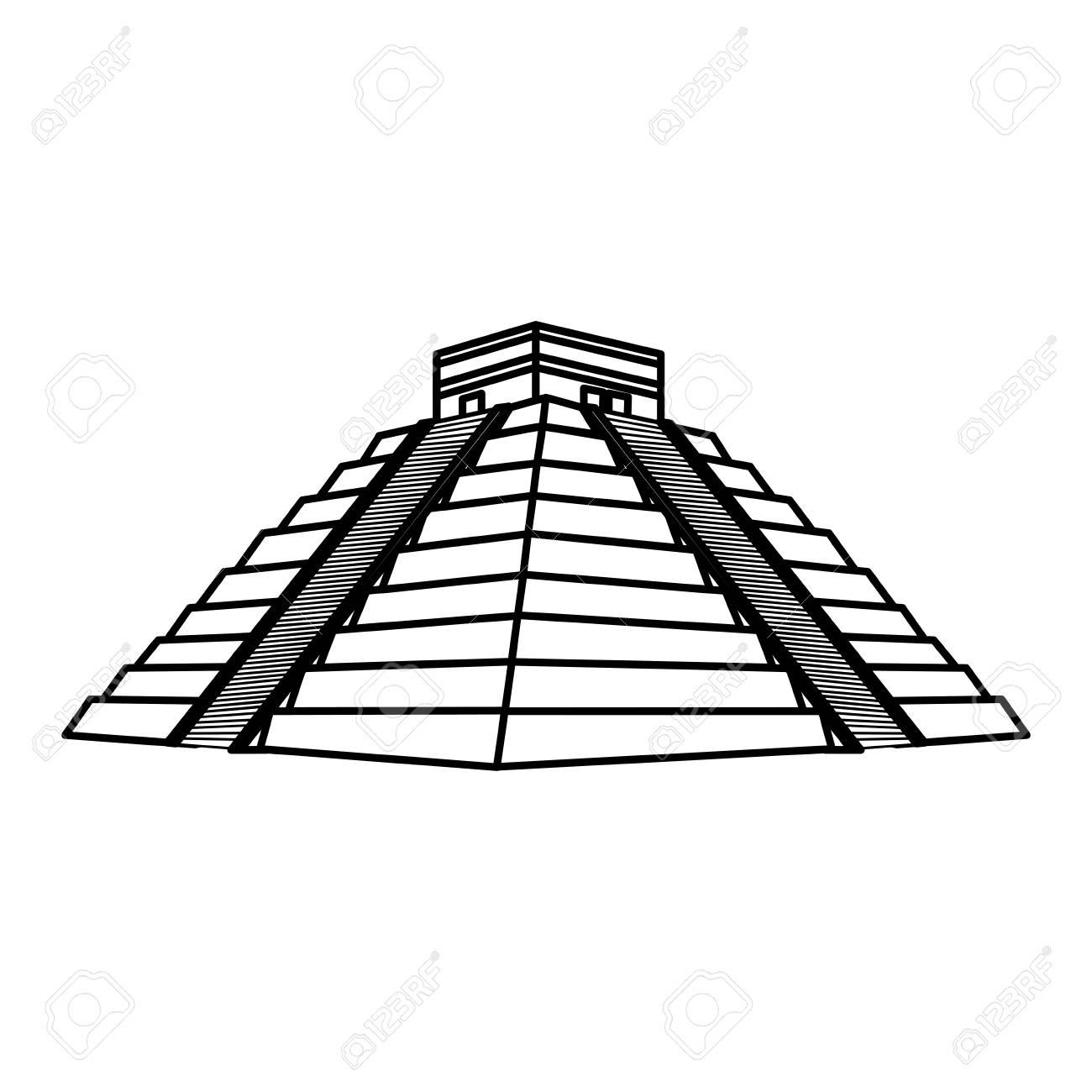 line chitchen itza pyramid aztec temple vector illustration.