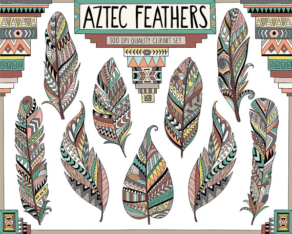 Aztec Tribal Feathers Clipart.