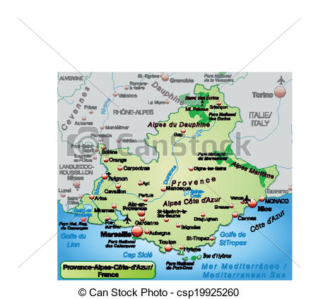 Clip Art Vector of Map of Provence.