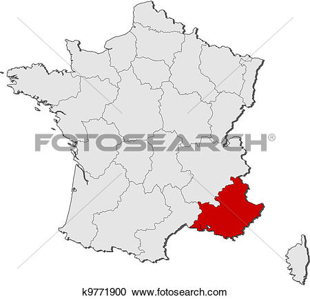Clipart of Map of France, Provence.