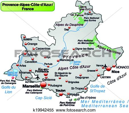 Clipart of Map of Provence.