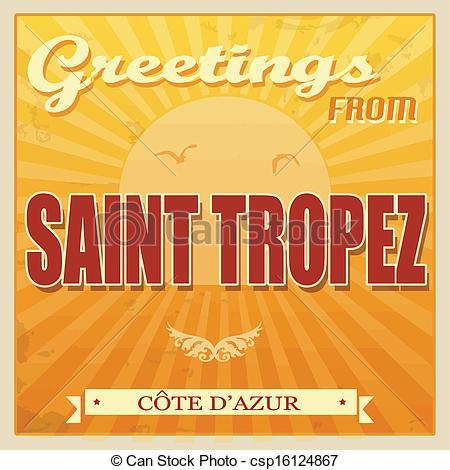 Clip Art Vector of Saint Tropez, Cote d'Azur poster.