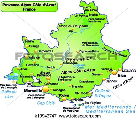 Clip Art of Map of Provence.