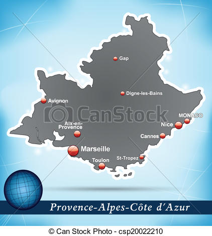Vector Clip Art of Map of Provence.