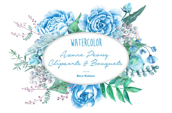 Watercolor Azure Blue Peony Clipart ~ Illustrations on Creative Market.