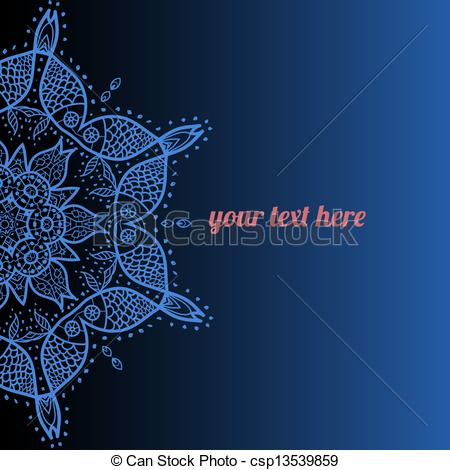 Clipart Vector of Vector ornate frame with sample text. Azure.