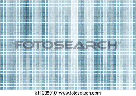 Clipart of Abstract azure blue square tiles k11335910.