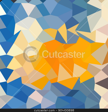 Azure Blue Abstract Low Polygon Background stock vector.