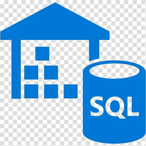 Blue house illustration, Data warehouse Microsoft Azure SQL.