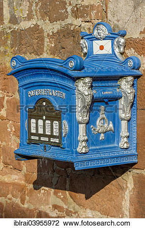 "Stock Photo of ""Mailbox, replica from 1896 on a sandstone wall."