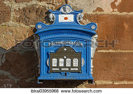 "Pictures of ""Mailbox, replica from 1896 on a sandstone wall, old."