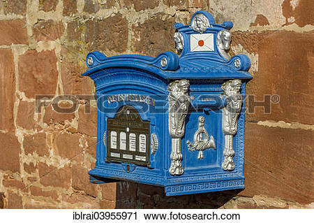 "Stock Photography of ""Mailbox, replica from 1896 on a sandstone."