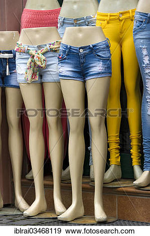 "Stock Photograph of ""Legs of mannequins with jeans and hot pants."