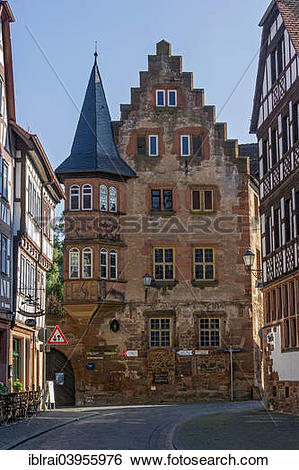 "Stock Images of ""Late Gothic Steinernes Haus, old town, Budingen."