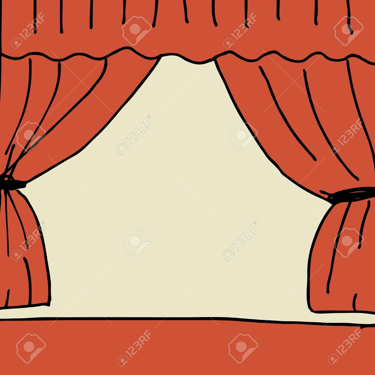 Illustration Of Hand Drawn Stage With Curtain Royalty Free.