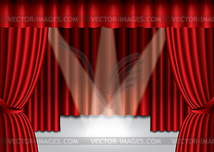 theater curtain with spotlight on stage,.
