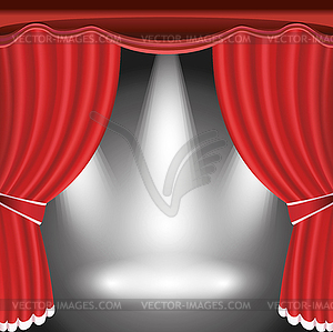 stage with open red curtain and spotlight.