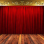Stock Images of red fabric curtain on golden stage k13718766.