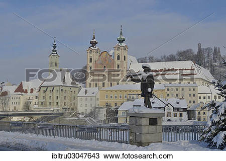 "Stock Photo of ""St. Michael's Church and a statue, Steyr, Upper."