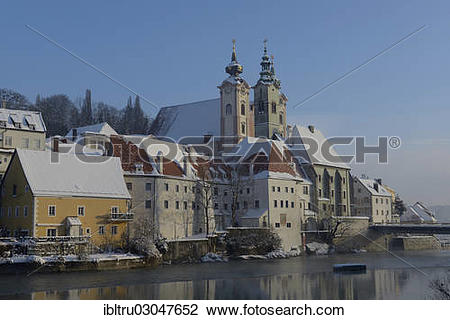"Stock Photo of ""St. Michael's Church and Civil Hospital, Steyr."