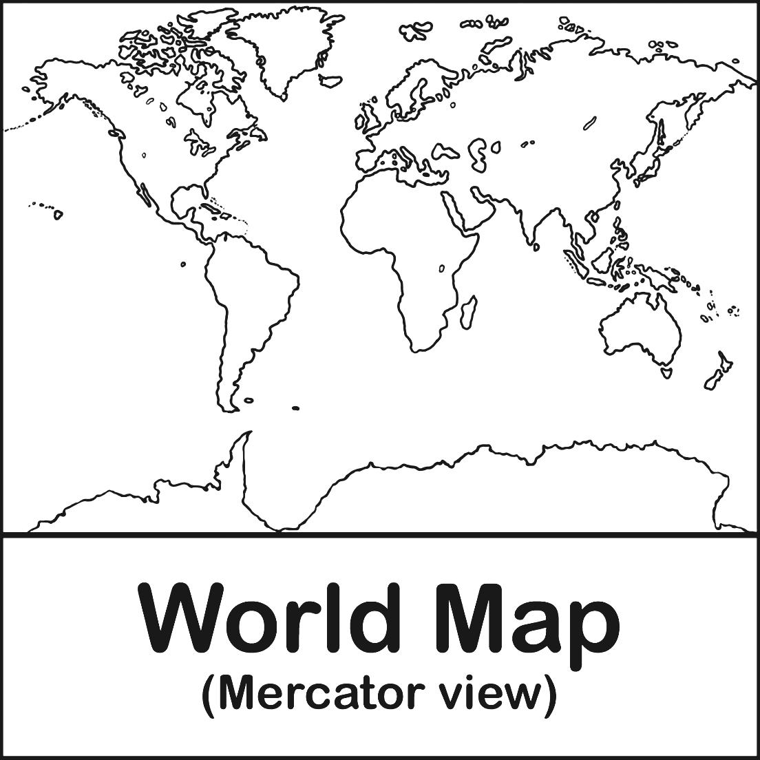 Clip Art World Map B Amp W Canada Color Labeled Abcteach Mercator.