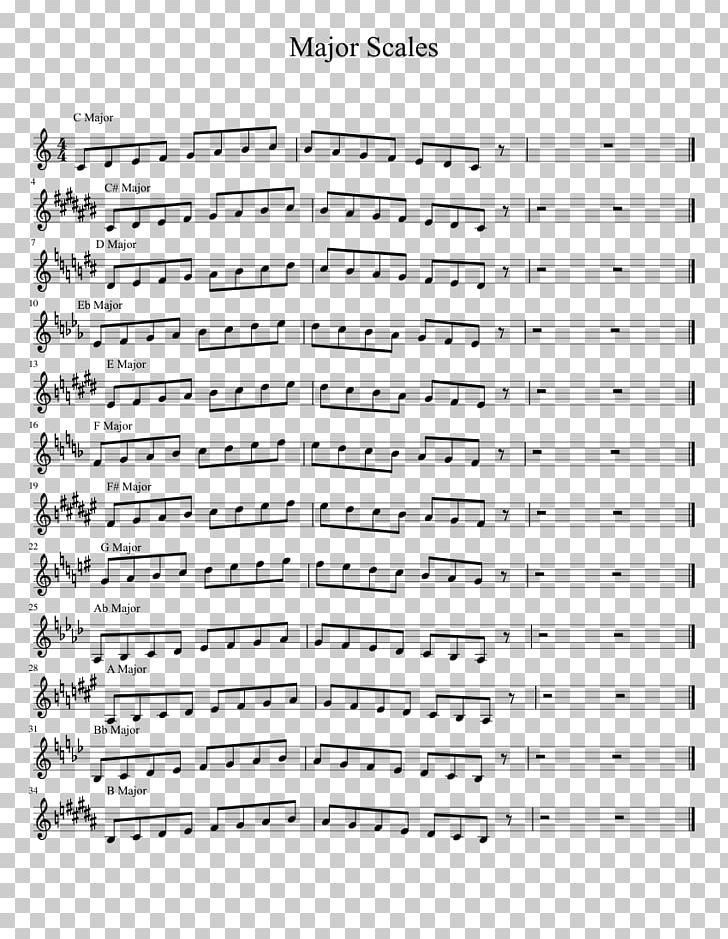 Sheet Music Major Scale Trumpet B.