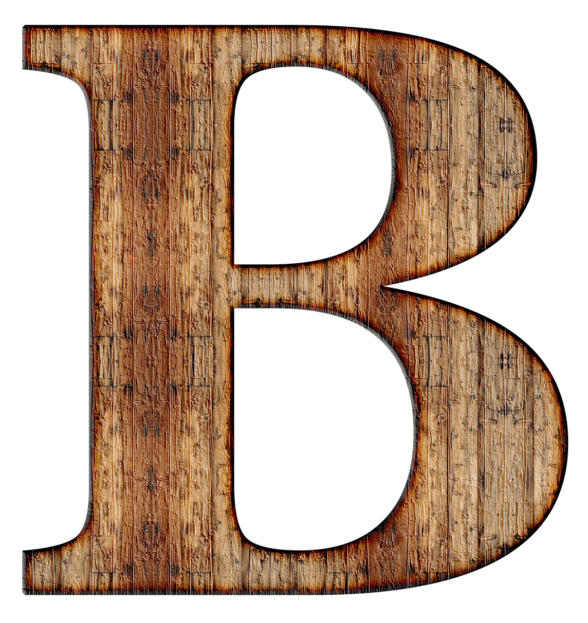 Wooden Capital Letter B transparent PNG.