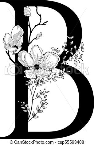 Vector Hand Drawn floral B monogram and logo.