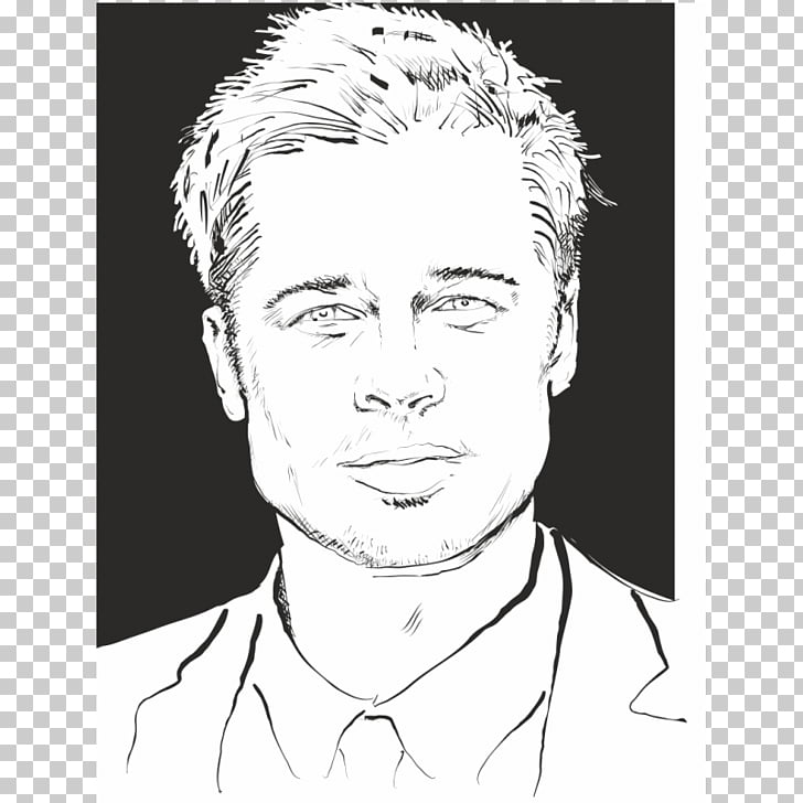 Brad Pitt Coloring book Black and white Drawing, brad pitt.