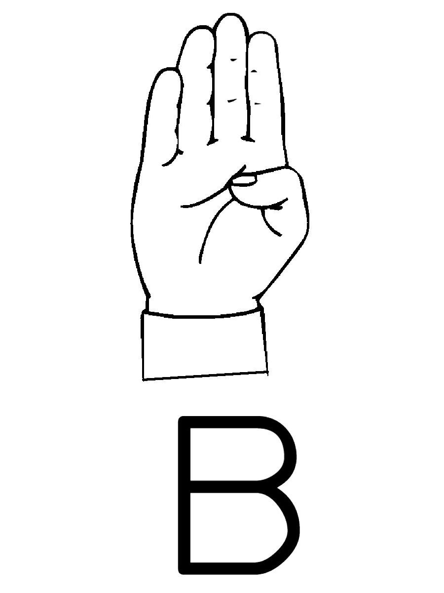 Sign Language Letter B Clip Art free image.