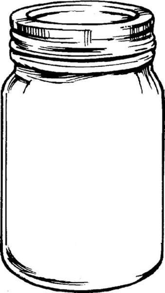 Free mason jar tempplates an ink drawing of a mason jar.