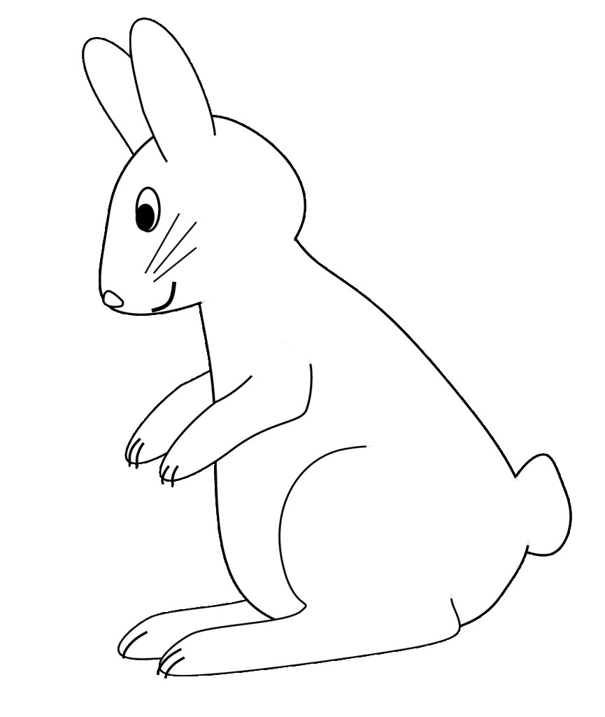 B&W bunny sitting up sketch clipart to color, 17 cm.