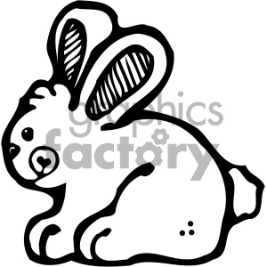 cartoon clipart bunny 001 bw . Royalty.