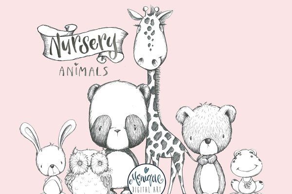 B&W Animals Clipart by Monique Digital Art on.