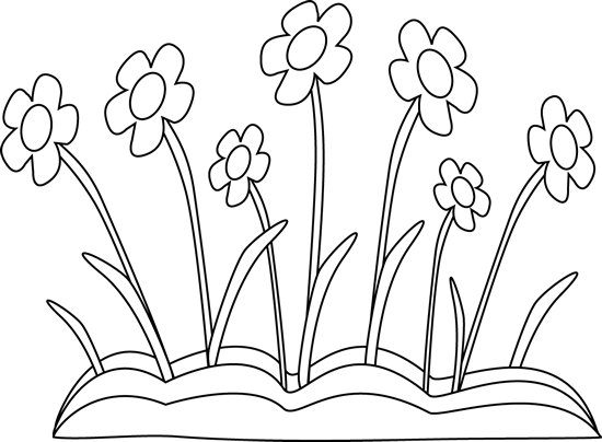 Black and White Spring Flower Patch Clip Art.