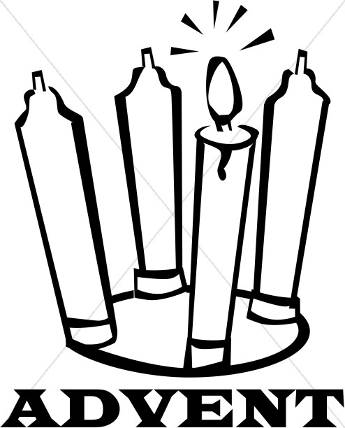 Advent Candles Clipart Black And White.